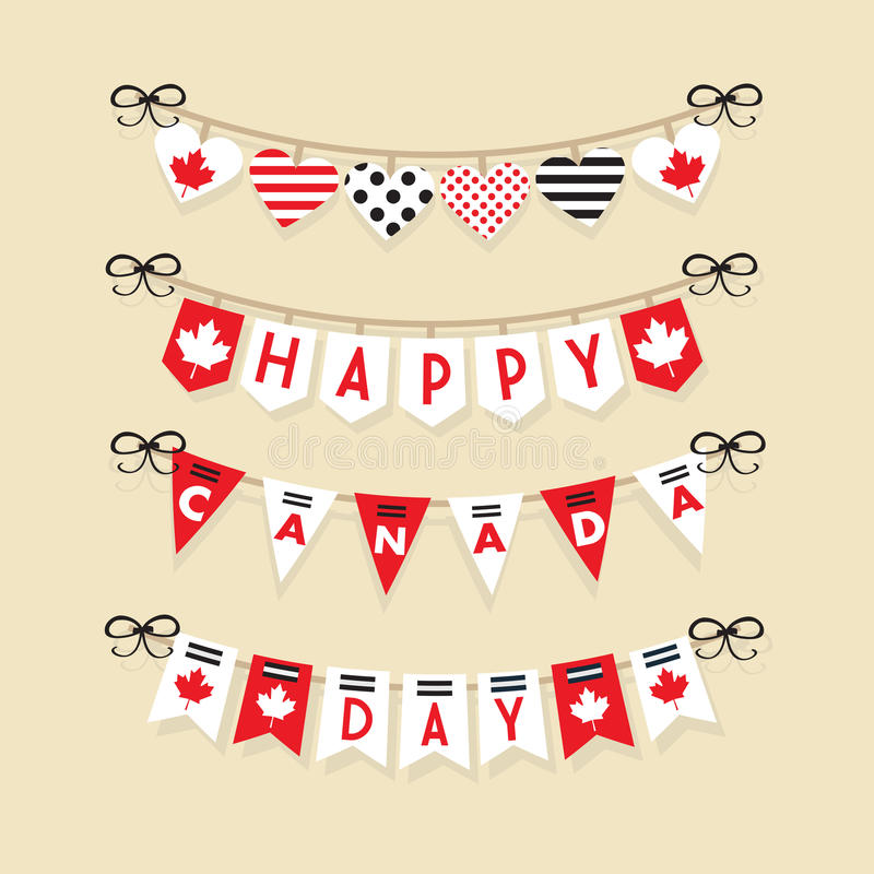 Happy Canada Day hanging buntings decoration icons set vector illustration