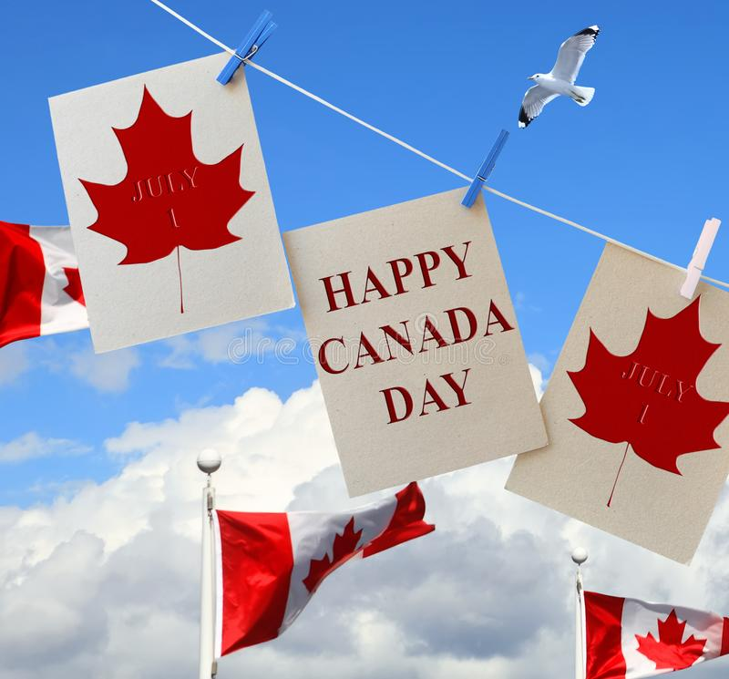 Free Happy Canada Day. Holiday Greeting Cards With Maple Leaf And Canadian Flag. Royalty Free Stock Photography - 149613717
