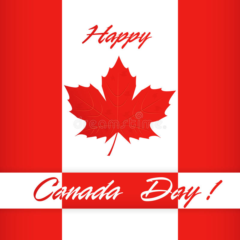 Happy Canada day poster. Canada flag vector illustration greeting card. vector illustration