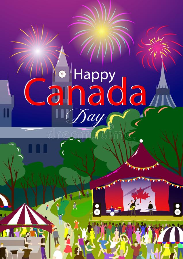 Happy Canada Day poster. Vector illustration. Ottawa park, holiday festival. People on foreground and stage with flag, firework. Happy Canada Day poster. Vector stock illustration
