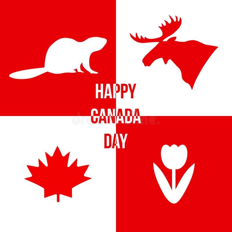 Happy Canada Day Silhouettes Of Symbols Of Canada Vector Illus