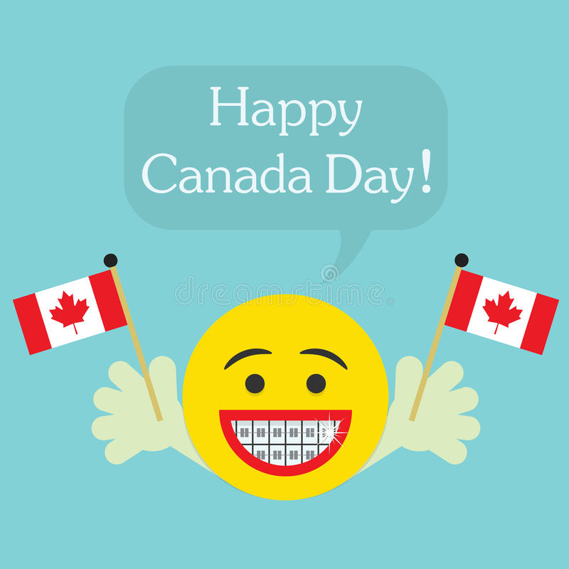 Happy Canada Day! smiley face icon with big smile and orthodontics teeth. Hands holding Canada flags, and speech bubble royalty free illustration