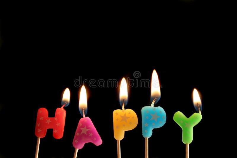 Happy candles stock photo
