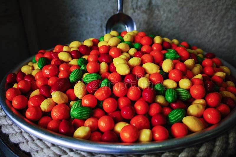 Happy candy and bubble gum shop, sweet candy fruits. Happy candy and bubble chewing gum shop, sweet candy fruits stock images