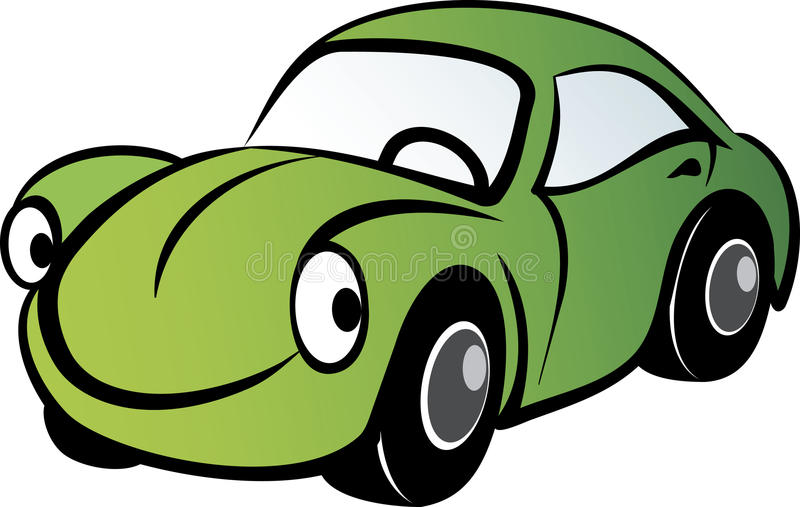 Happy Car. Happy green car smiling to us