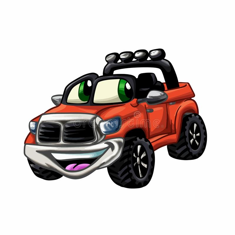 Happy car - red car cartoon - funny cartoon cars royalty free illustration