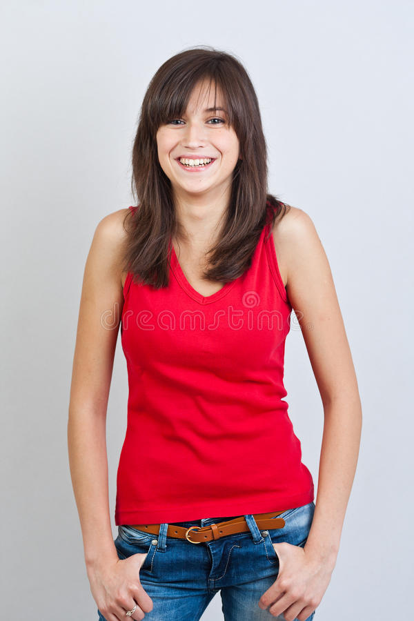 Happy and carefree teenage girl royalty free stock images