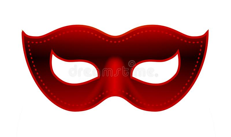 Happy carnival festive concept with red mask . carnival mask isolated on white background. Illustration royalty free stock images