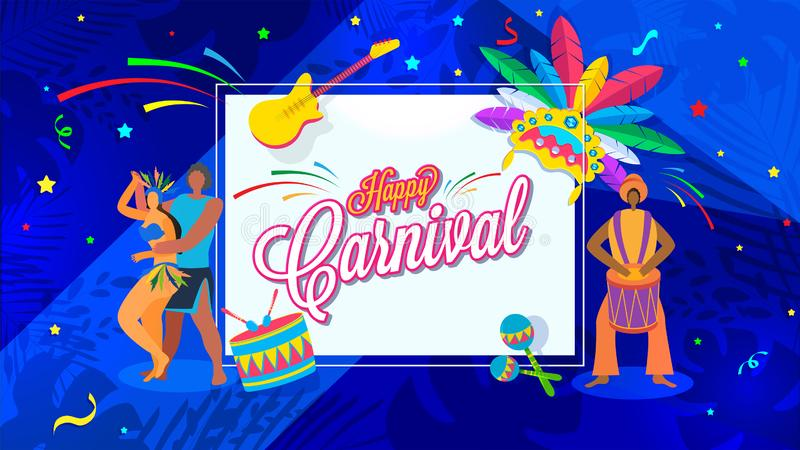 Happy Carnival poster or banner design with dancing people character. vector illustration