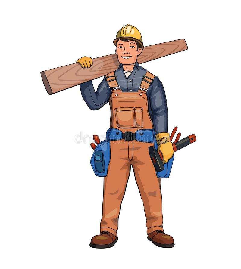 Happy carpenter, builder holding wooden plank. Vector illustration, isolated on white background. Happy carpenter, builder holding wooden plank. Vector royalty free illustration
