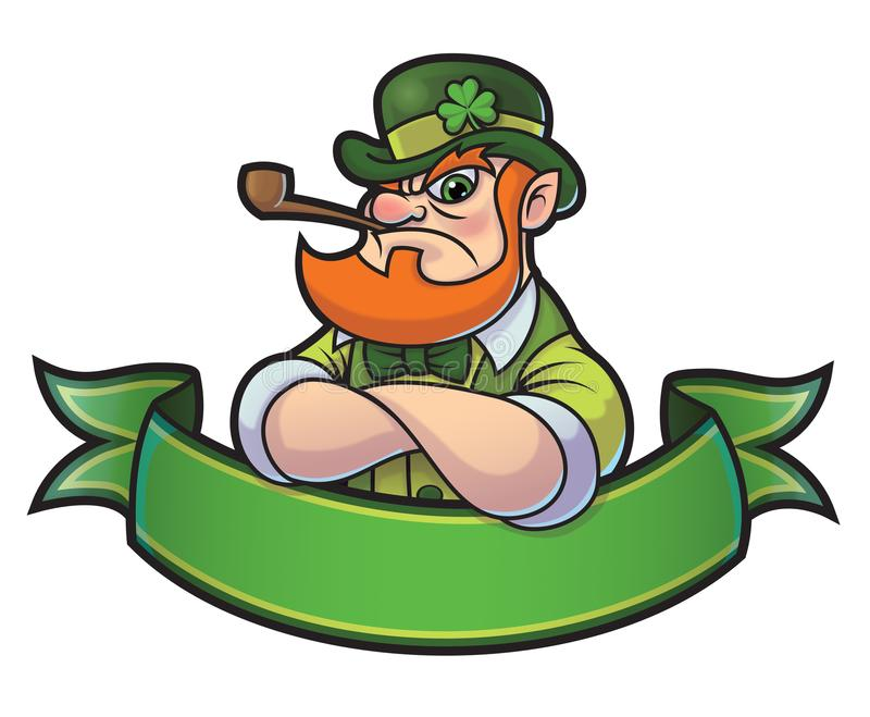Angry Shaded Cartoon Leprechaun Behind Green banner stock illustration