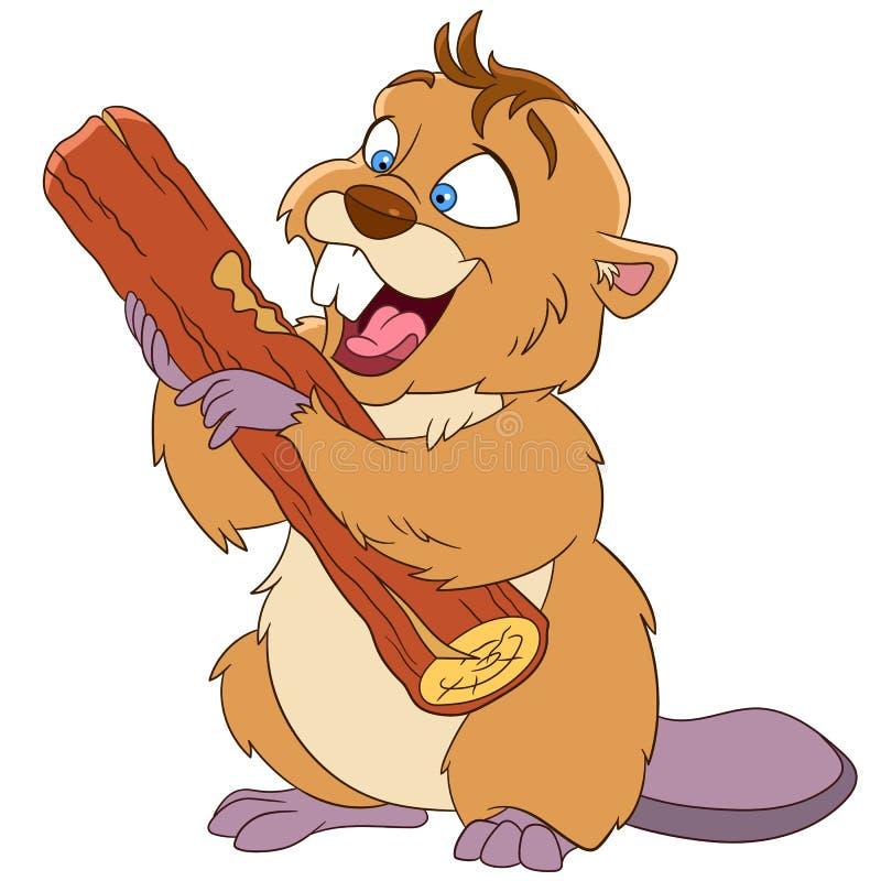 Happy cartoon beaver with a wood piece royalty free stock photo
