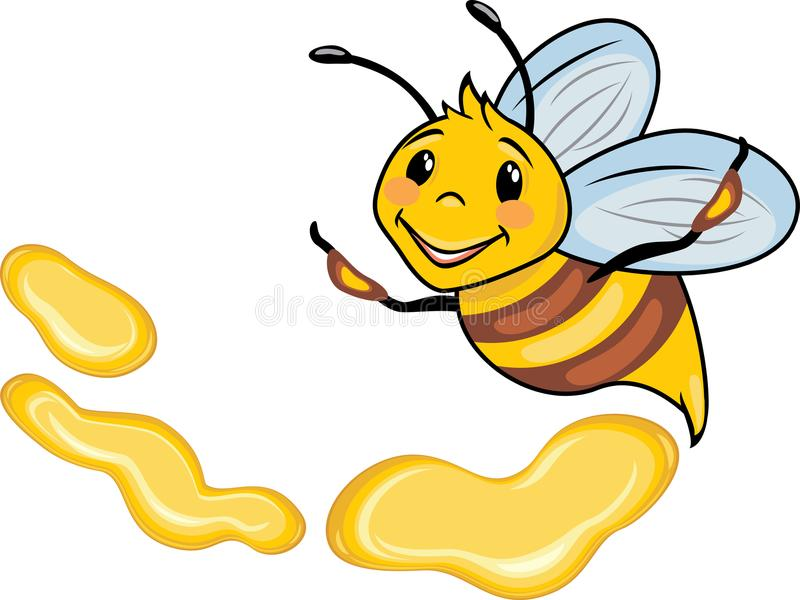 Happy cartoon bee and honey drops stock images