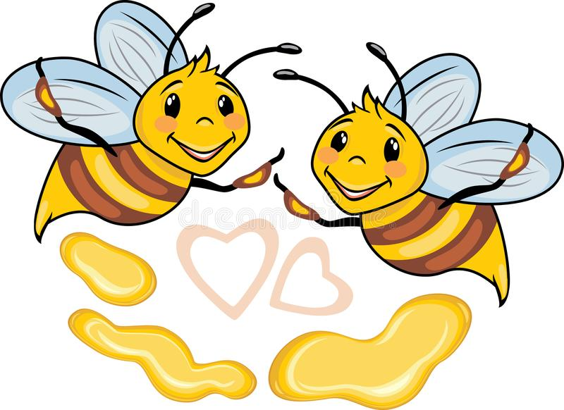 Happy cartoon bees and honey drops royalty free stock photo
