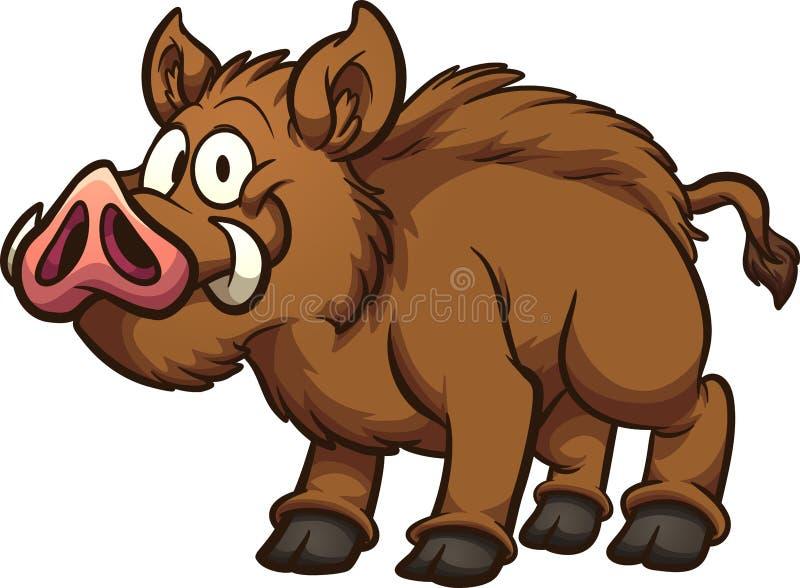 Happy brown cartoon boar vector illustration