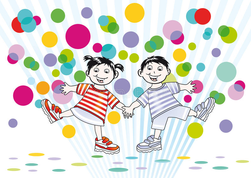 Happy cartoon boy and girl. With colorful spotted background royalty free illustration