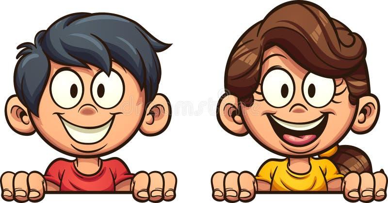 Happy cartoon boy and girl peeking out. stock illustration