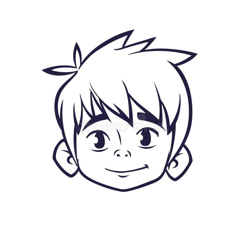 Happy cartoon boy head outline. Vector illustration for coloring book. Happy cartoon boy head outline. Vector illustration for coloring book vector illustration