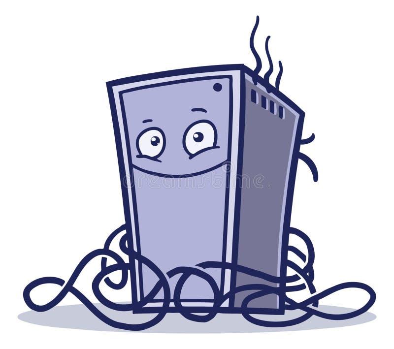 Happy cartoon broken computer logo royalty free stock images