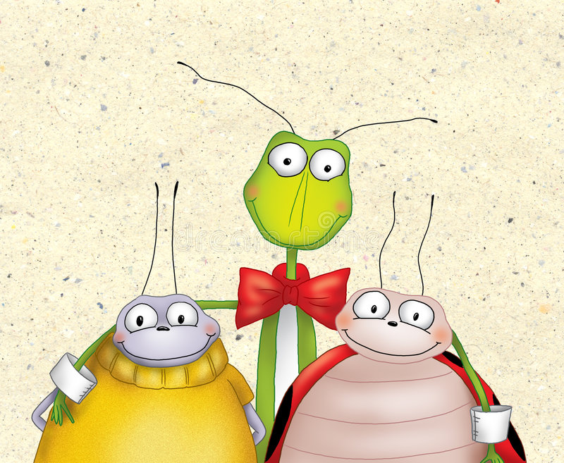 Happy cartoon bugs stock illustration