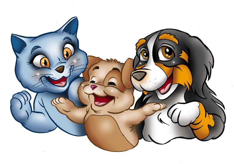Happy cartoon cats and dog. Colorful illustration of cute cartoon dog and cats smiling, isolated on white background royalty free illustration