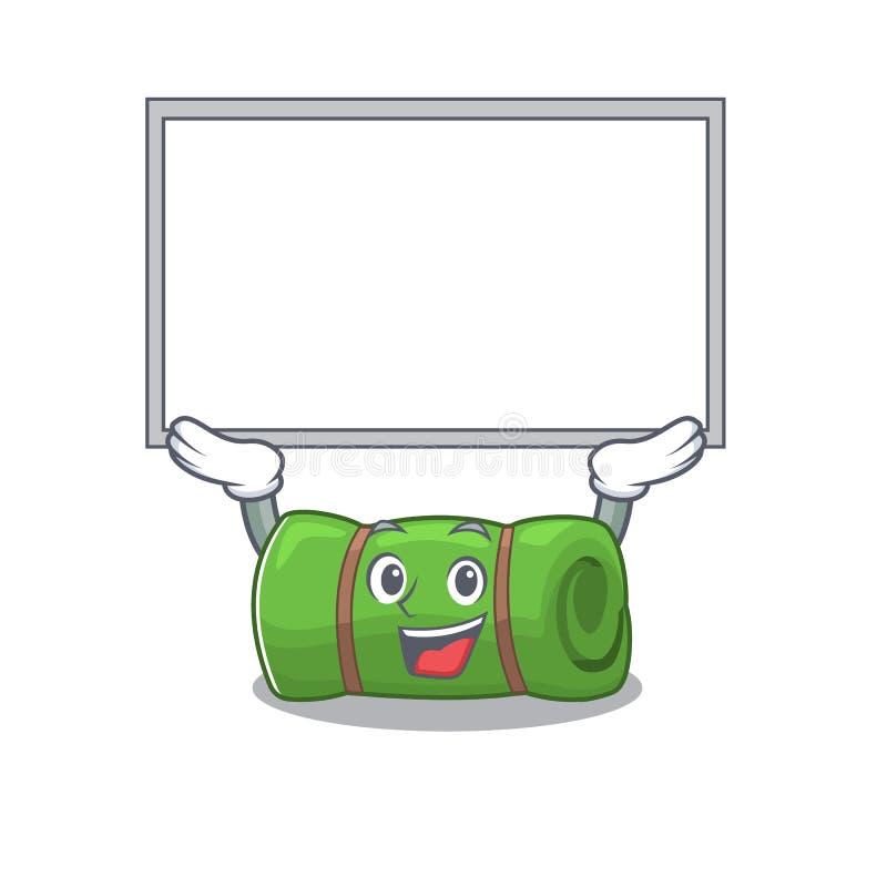 Happy Cartoon Charakter Camping Matte Scroll erhob sich vektor abbildung