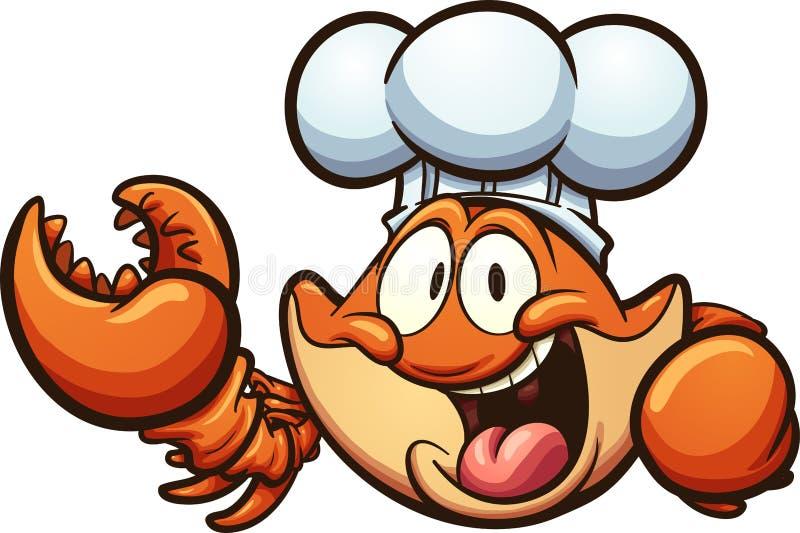 Happy cartoon chef crab royalty free illustration