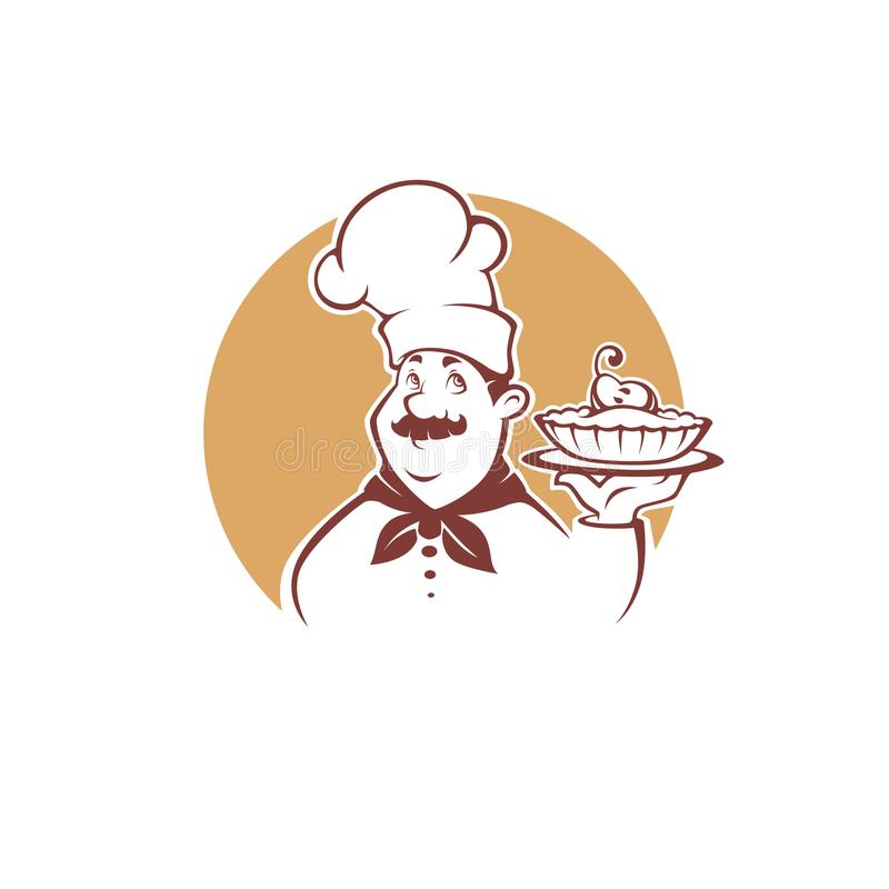 Happy cartoon chef holding a sweet pear pie, vector illustration royalty free illustration