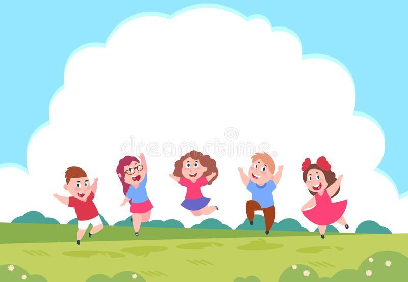 Happy cartoon children. Preschool playing kids on summer nature background with clouds. Vector group of active children royalty free illustration