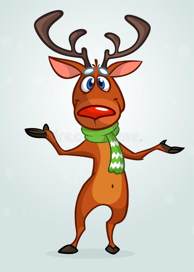 Happy cartoon Christmas Reindeer pointing hand. Vector illustration of Christmas character. vector illustration