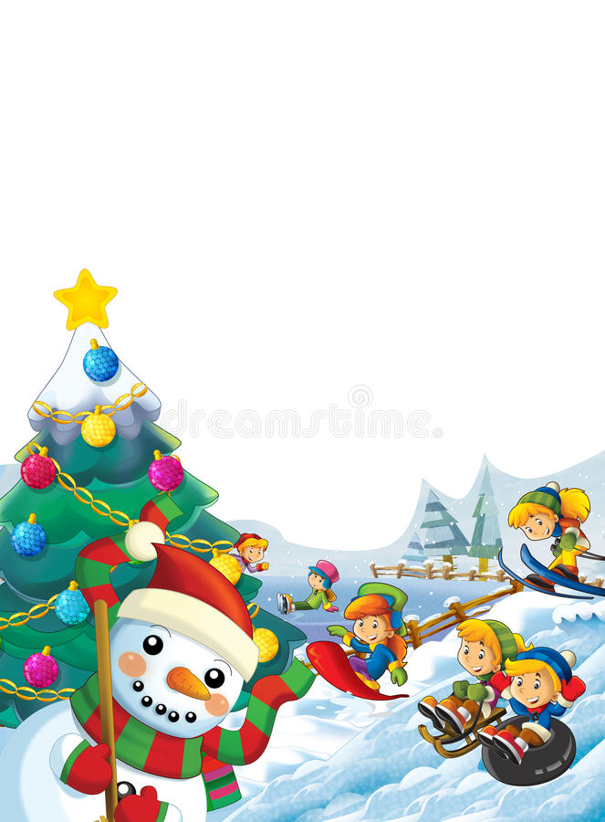 Happy cartoon christmas scene with happy kids and christmas tree. Happy and funny traditional scene for different usage - for different fairy tales. Happy vector illustration