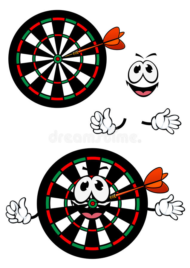 Happy cartoon colorful darts target character. Cartoon smiling darts target character with colorful concentric numbered segments and dart arrow in the center for vector illustration