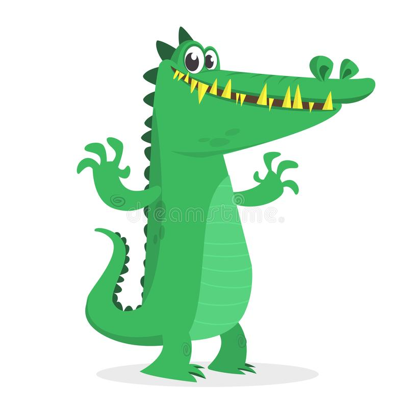 Happy cartoon crocodile vector illustration. Big set of cartoon animals stock illustration
