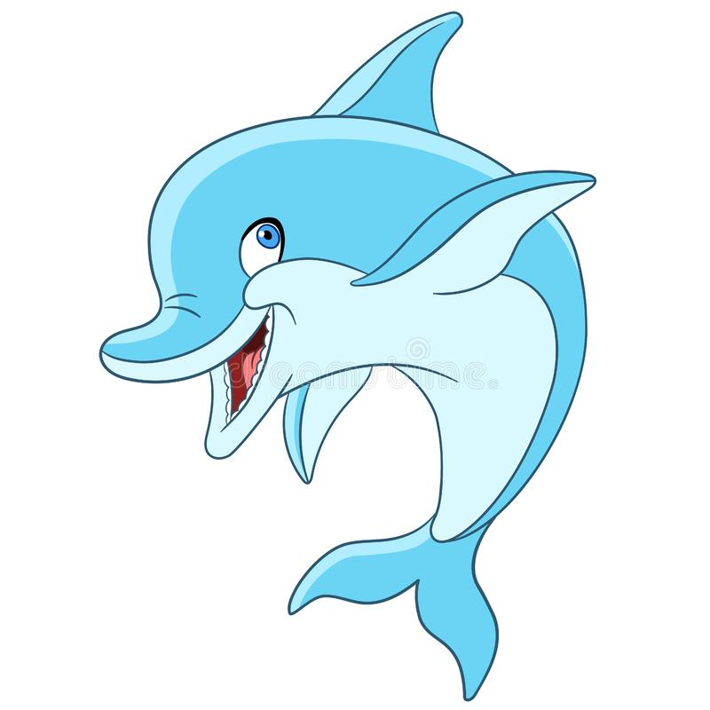 Happy cartoon dolphin vector illustration