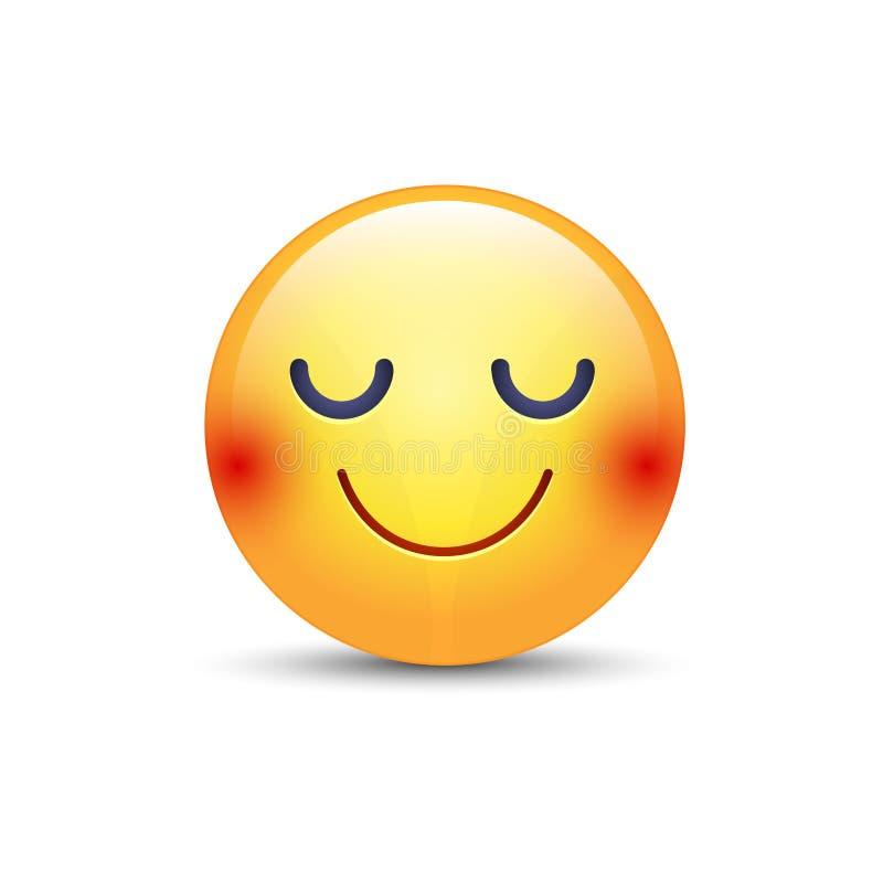 Happy cartoon emoji face with closed eyes. stock illustration