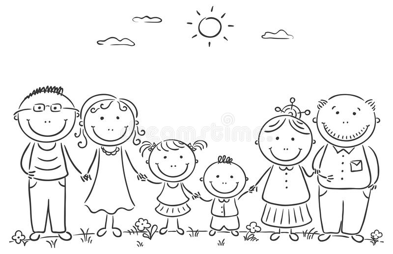 Happy cartoon famile with two children and grandparents stock illustration