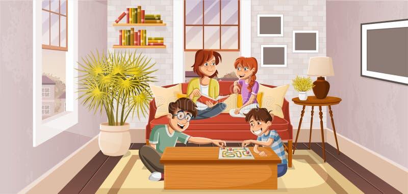 Happy cartoon family stock illustration
