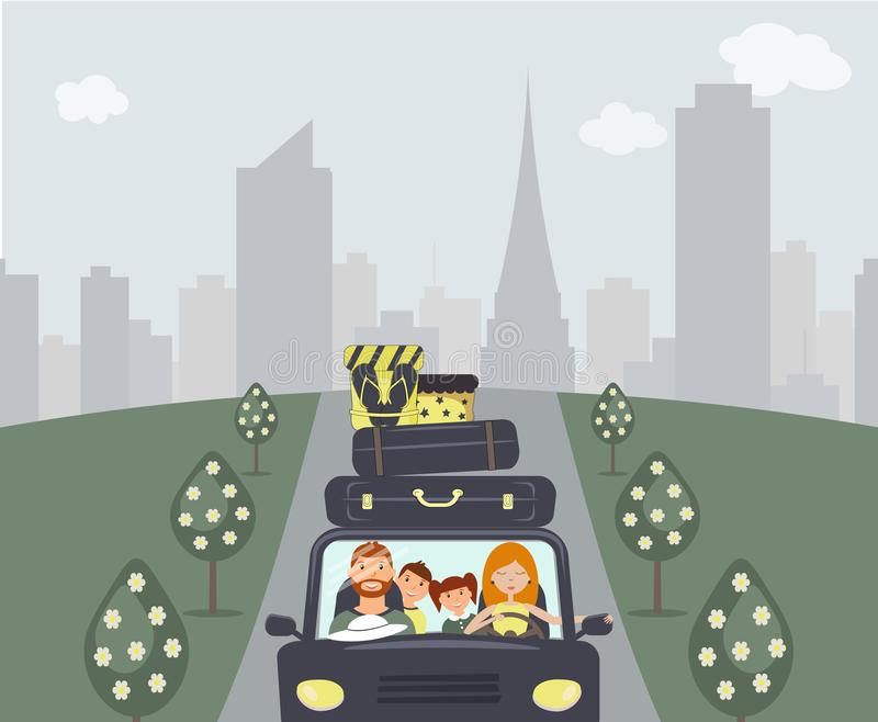 Happy cartoon family: young man, woman, son and daughter are going to vacation. Mom is driving a navy car. There are a few vector illustration