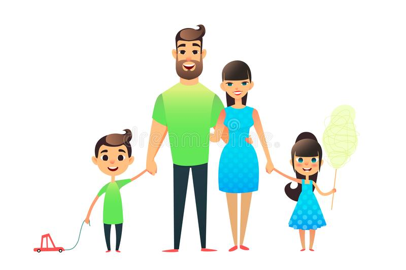 Happy cartoon flat family portrait. Mother, father, son, daughter together. Mom and dad embrace, the brother is carrying stock illustration