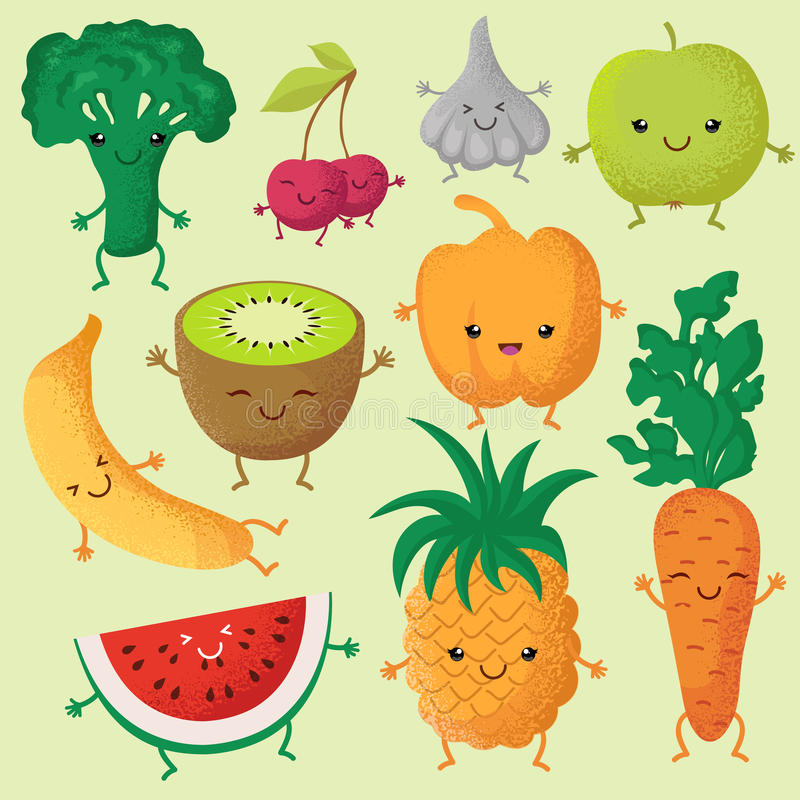 Happy cartoon fruits and garden vegetables with funny cute faces vector characters royalty free illustration