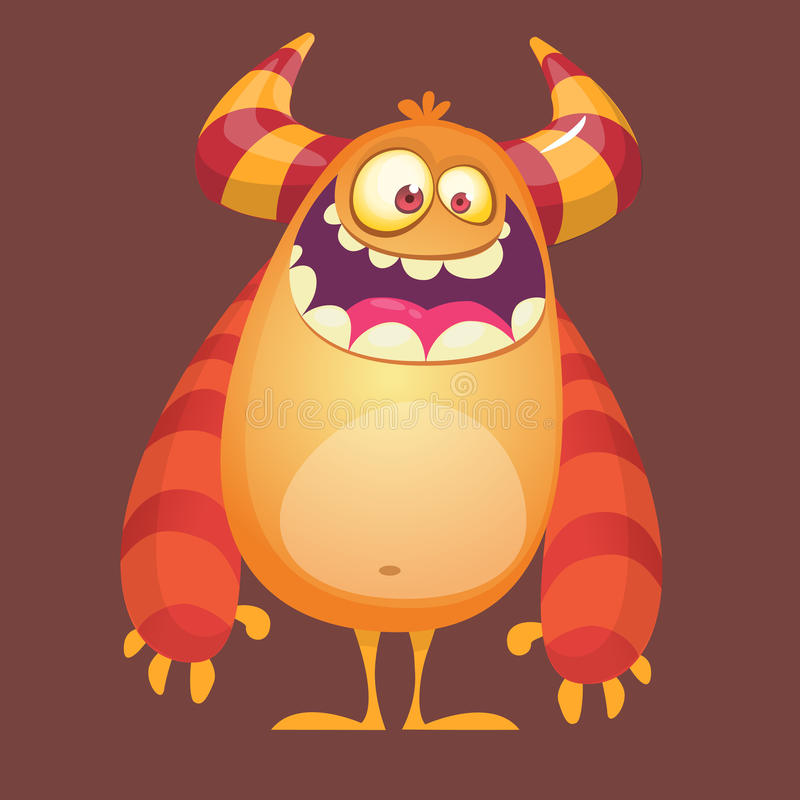 Happy cartoon furry monster. Orange vector troll character. Design for icon, emblem, sticker or children book illustration. Happy cartoon furry monster. Orange vector illustration