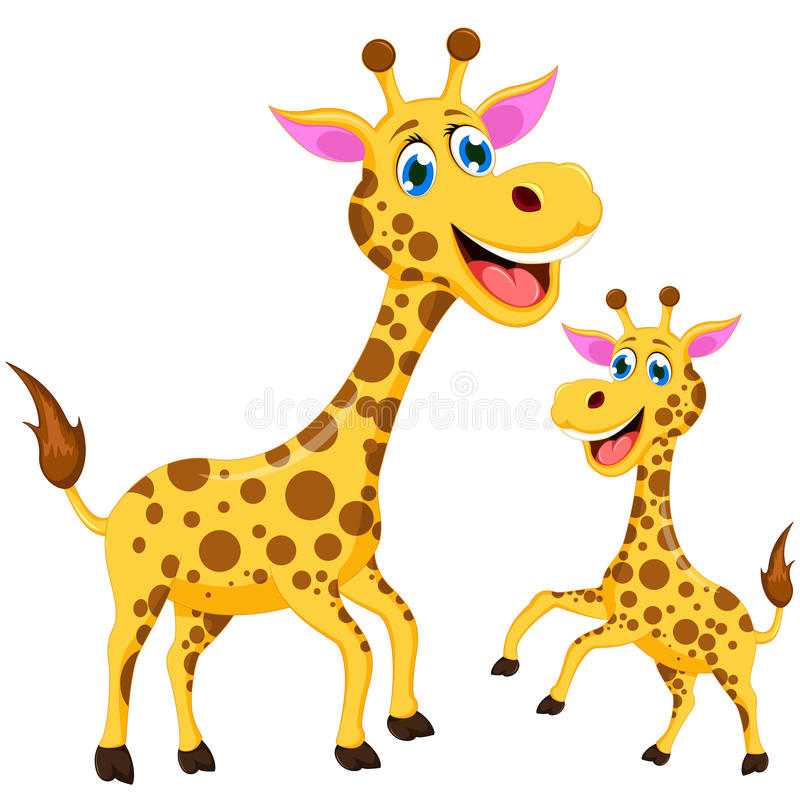 Happy cartoon giraffe vector illustration