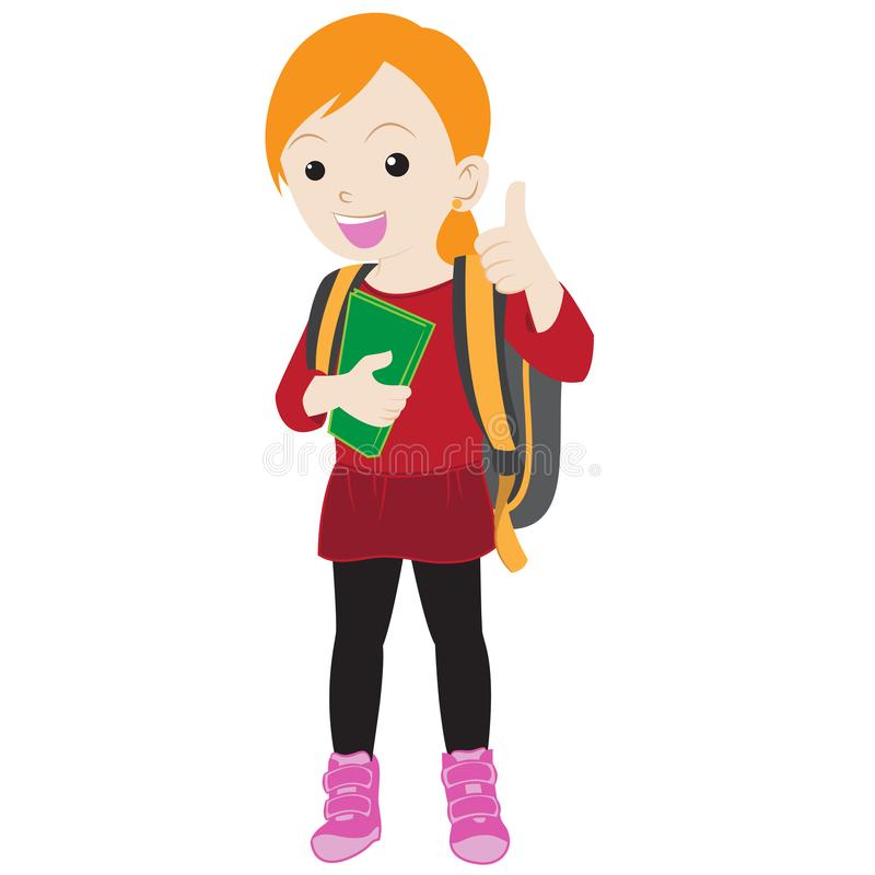 Happy cartoon girl go back to school stock illustration