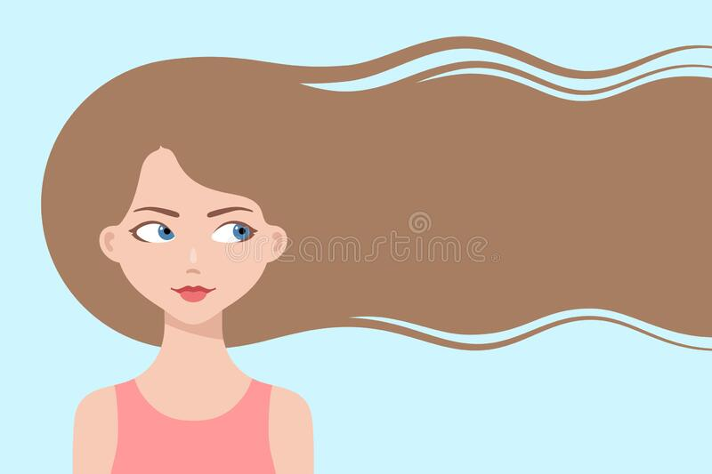 Happy Cartoon Girl With Long Flowing Hair Stock Vector Illustration Of Hairstyle Fair 179351415