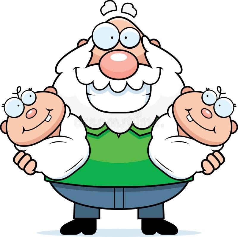 Happy cartoon grandpa with twins stock vector image