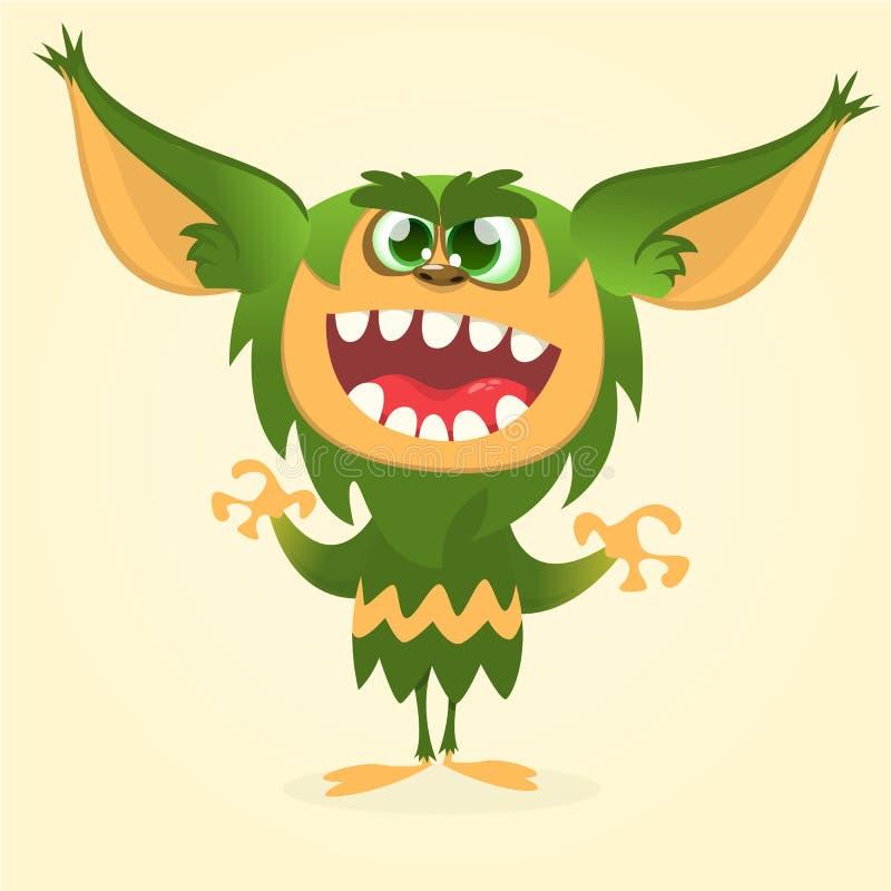 Happy cartoon gremlin monster. Halloween vector goblin or troll with green fur and big ears.  royalty free illustration