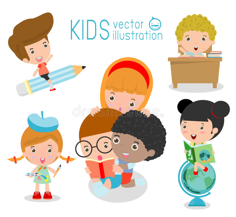 Happy cartoon kids in classroom, education concept, back to school vector illustration