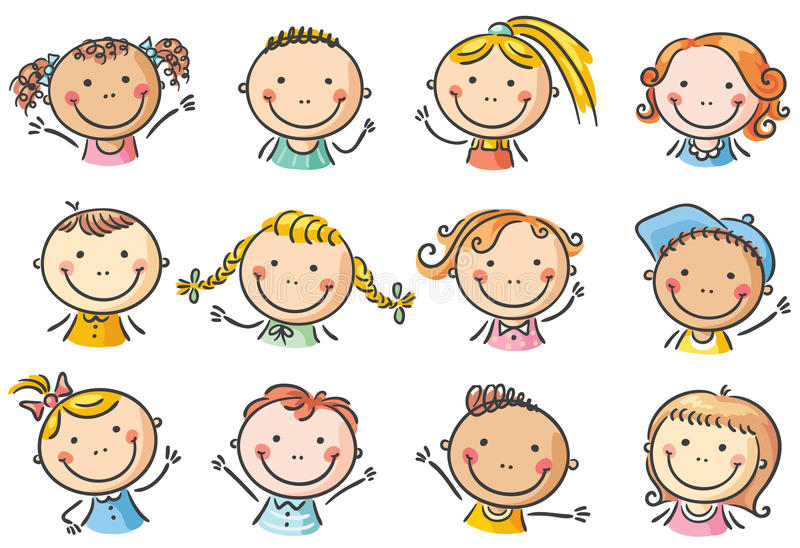 Set Of Cartoon Childrens Faces Stock Vector Art More: Happy Cartoon Kids Faces Stock Vector. Illustration Of