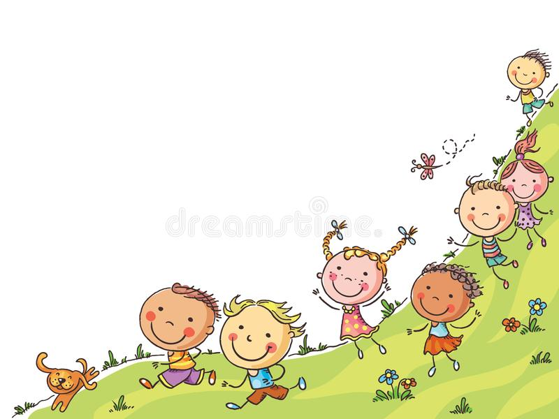 Happy cartoon kids running, vector frame with a copy space vector illustration