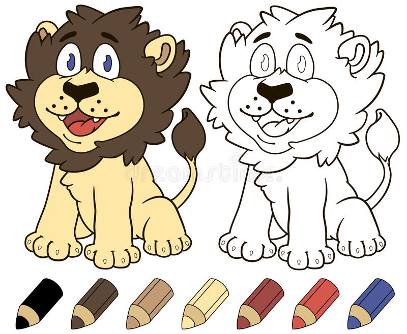 Happy Cartoon Lion. Vector Coloring Book Illustration. Stock Vector ...